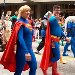 People dressed like Superman