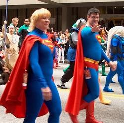 People dressed like Superman